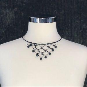 Black Beaded Choker Necklace - NWT